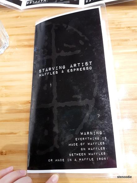 Starving Artist Waffles & Espresso menu cover