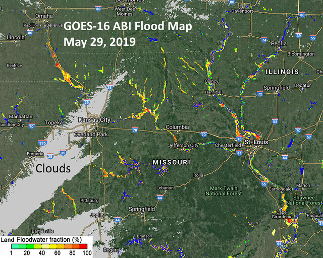 GOES-16 Monitors Historic Flooding in the Midwest