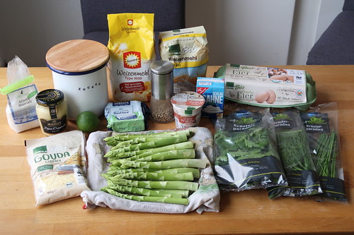 Zutaten für Grüner Spargel Quiche