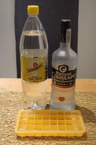 Zutaten für Wodka-Tonic mit Eis