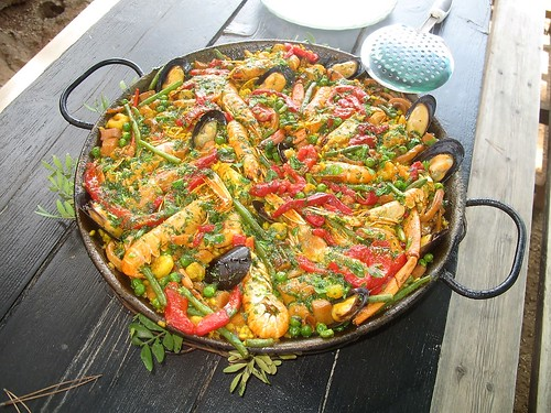 Paella on an open grill. From Exploring Spain, one bite at a time