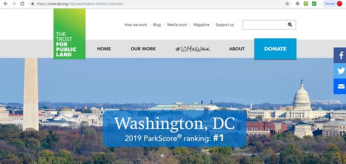 Screenshot, ParkScore webpage, Trust for Public Land, 5/30/2019