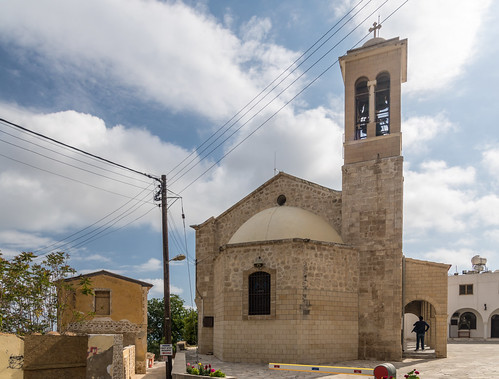 cyprus church street cathedral tower spring paphos holiday walking