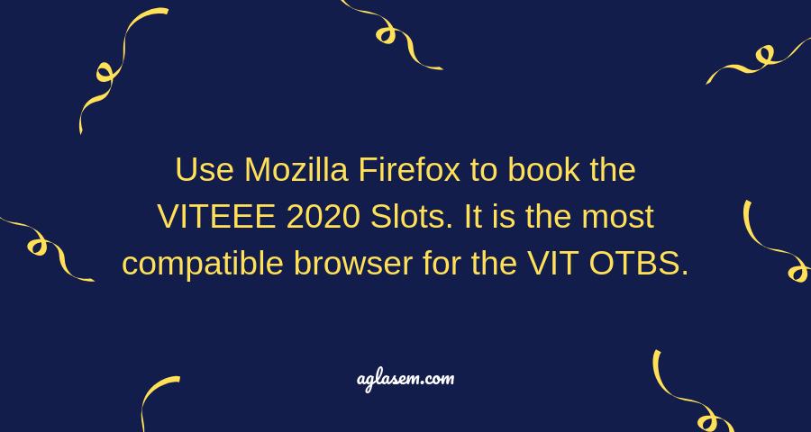 VITEEE 2020 Slot Booking