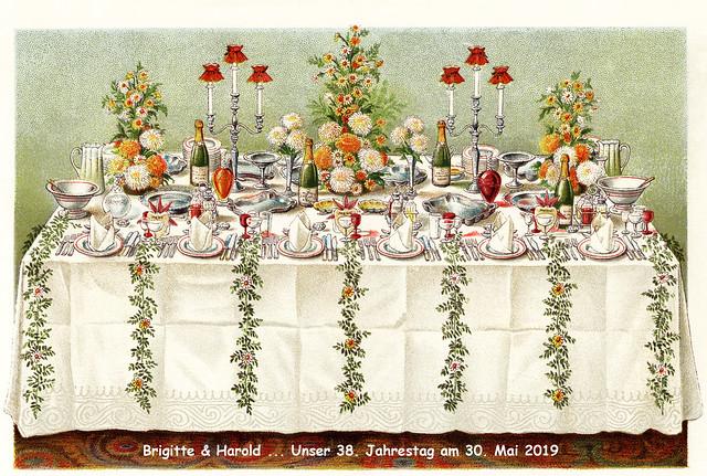 30. Mai 2019 - Unser 38. Jahrestag ... Gebratene Garnelen, Fenchel, hausgemachte Mayonnaise, Tomatensugo und einen reifen Camembert aus der Normandie --- Blumen ...