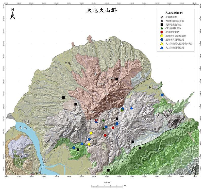 地調所於大屯火山地區所布設的火山觀測點以及鑽探點位分布圖