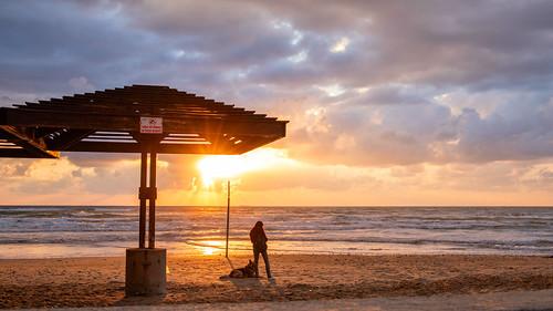 beach sun sunset dog woman sky clouds water waterscape israel sand coast travel