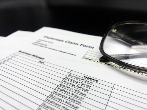 Expenses stock photo which shows a standard UK expense form, not yet filled out | by GoSimpleTax