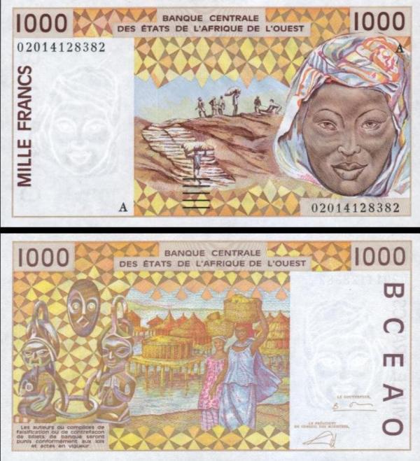 1000 Frankov Pobrežie Slonoviny 1998-2002, P111A