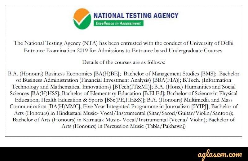 DU Entrance Exam 2019