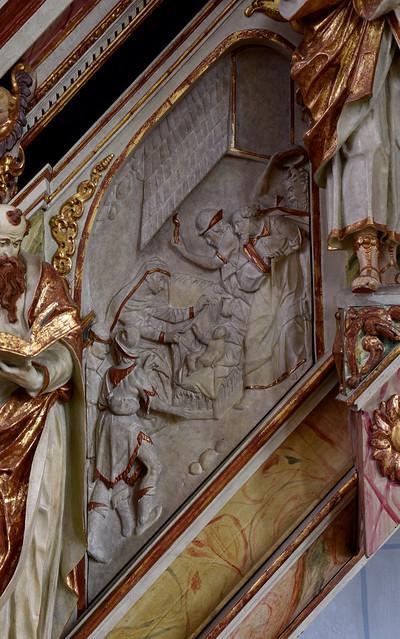 Wolfenbüttel, Niedersachsen, Hauptkirche, pulpit, stairs, 1st flight, detail