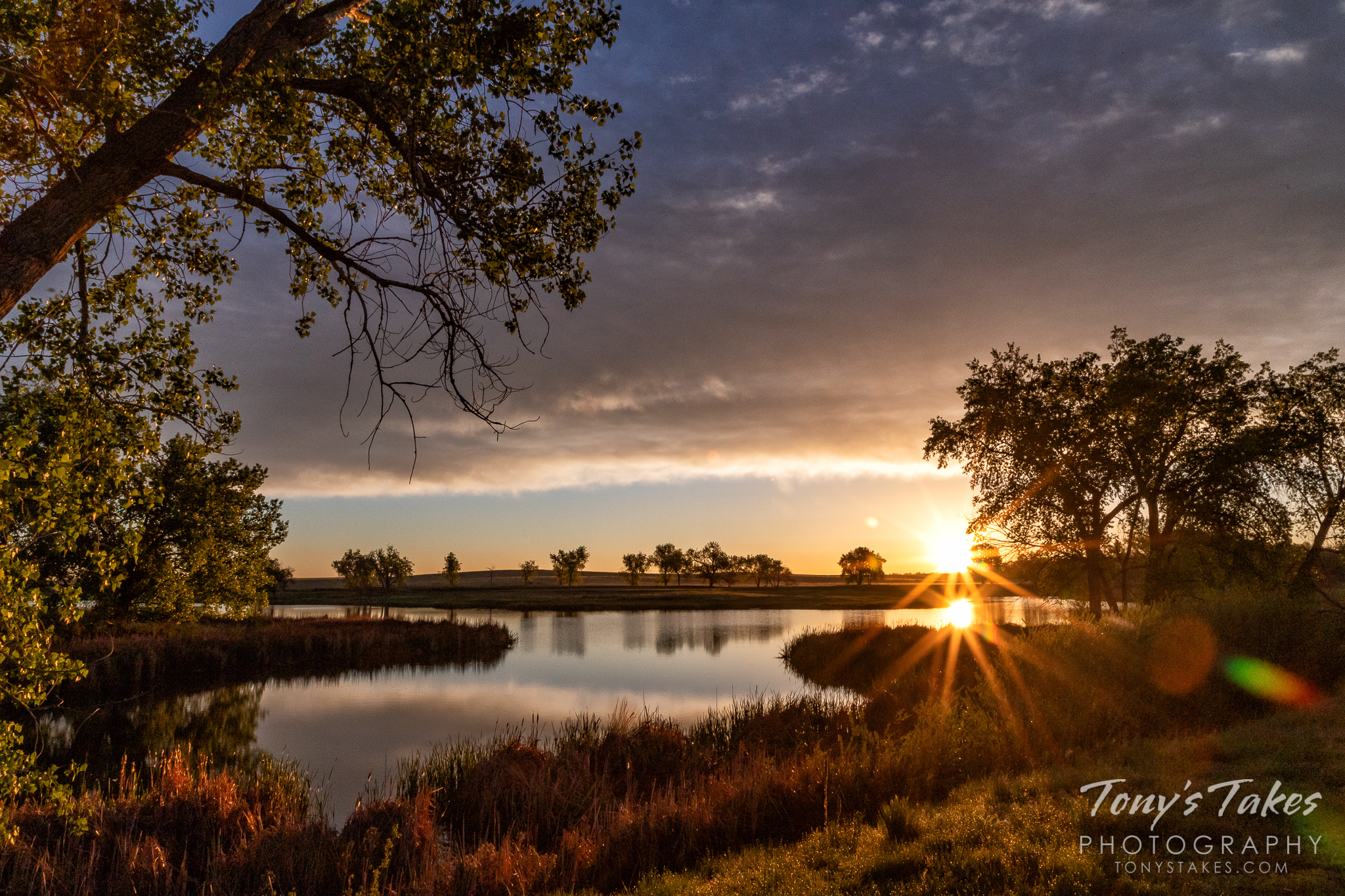 The sun bursts over the horizon at the Rocky Mountain Arsenal National Wildlife Refuge. (© Tony's Takes)
