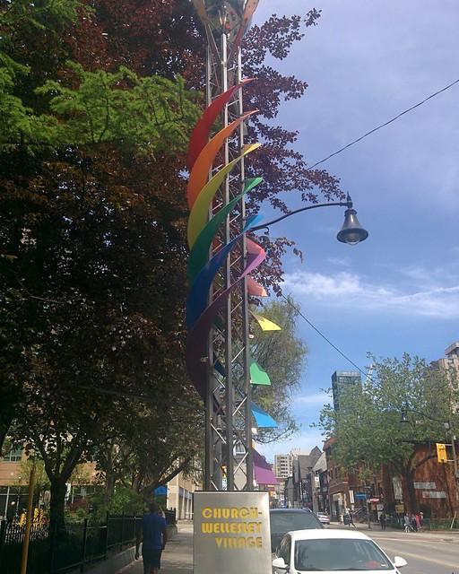 Boundary helix #toronto #churchstreet #churchandwellesley #rainbow #sculpture #helix #latergram