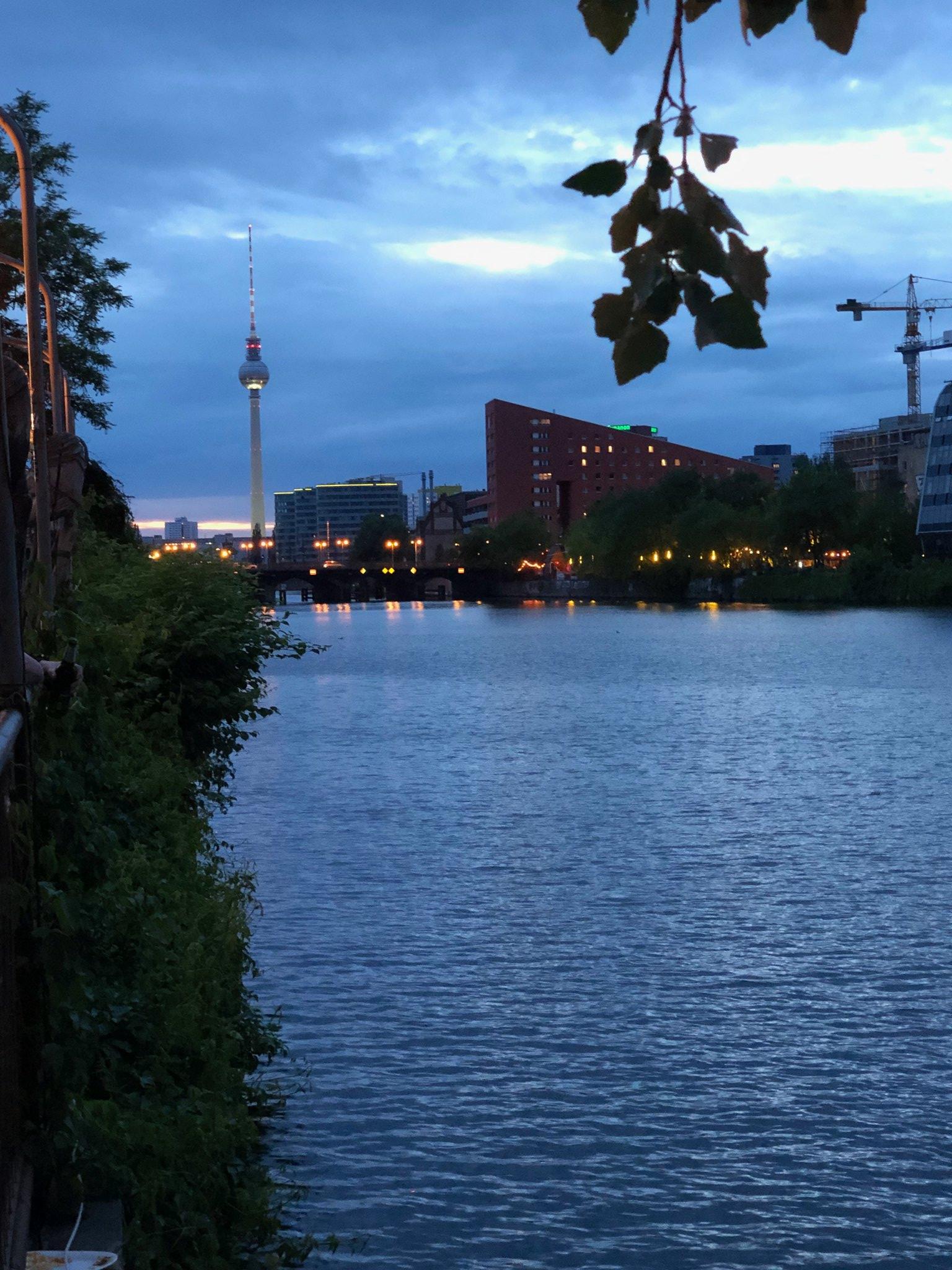 Beautiful night along the Spree in Berlin.