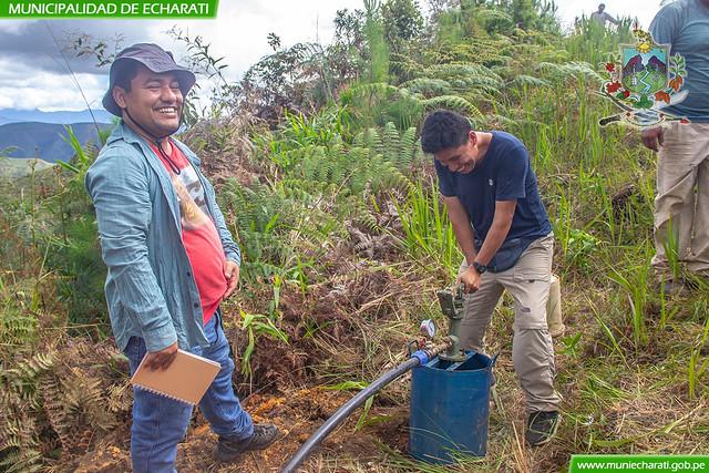 Municipalidad de Echarati efectúa prueba hidráulica de sistema de riego Simbeni