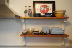 Shelf detail - shelving made from reclaimed white oak