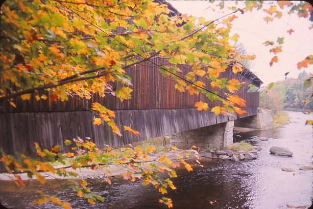 New England Covered Bridge in Fall
