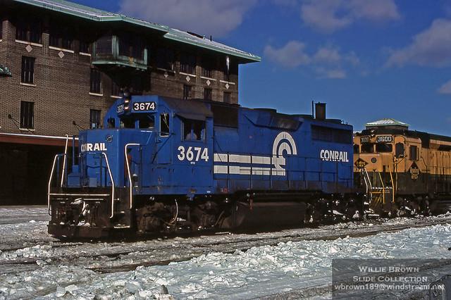 GP35 3674 at Springfield, Massachusetts January, 20th 1977