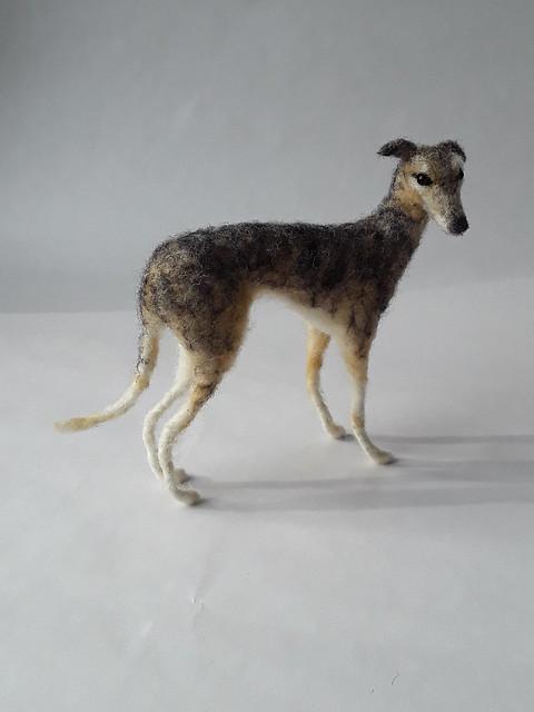 Needle felted greyhound.