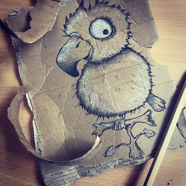 cardboard drawing - parrot