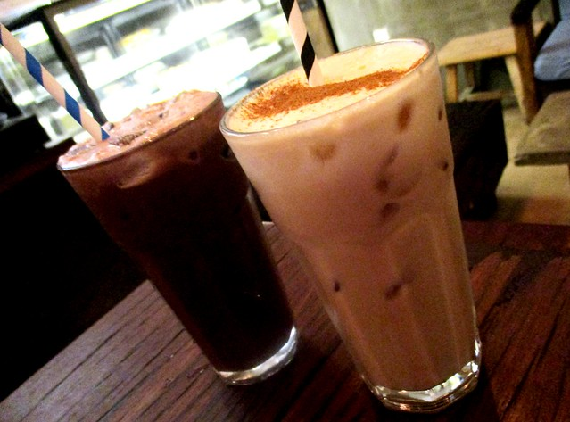Iced chai tea latte and cappuccino