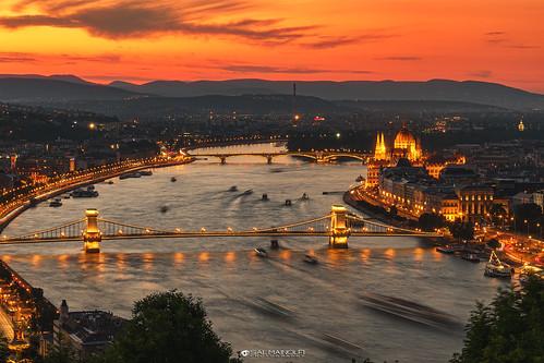 sunset sundown goldenhour river water city cityscape landscape evening longexposure bridge citylights lights sky tourism travel danube budapest hungary warm salmainolfi