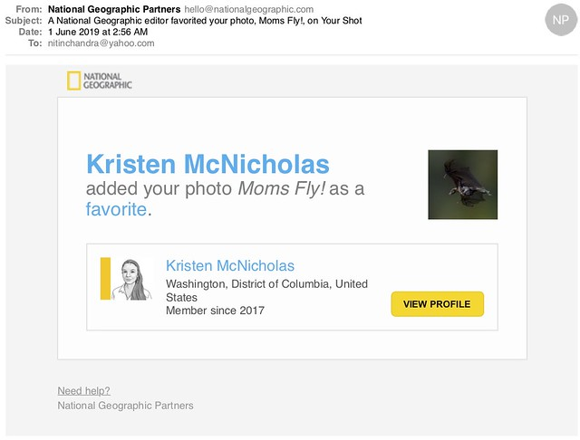 A National Geographic editor favorited your photo Moms Fly on Your Shot