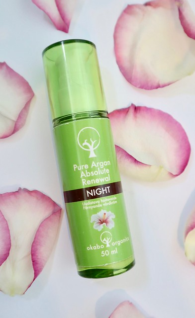 okabo organics  yövoide pure argan absolute renewal night kotimainen kosmetiikka
