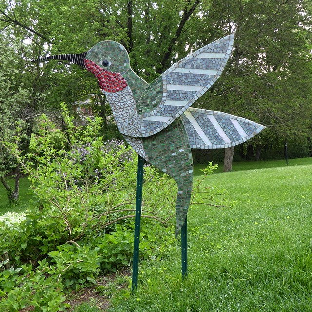 Janesville, WI, Visiting Friends, Backyard Garden, Bird Sculpture