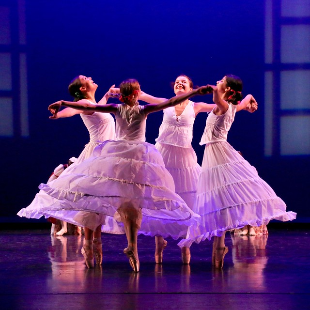 Four Young Ballerinas Onstage