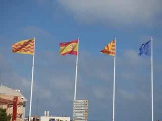 Catalan, Spanish and EU flags - Plaça de la UNESCO, Tarragona