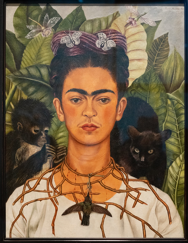 Self-Portrait with Hummingbird and Thorn Necklace - Frida Kahlo 1940