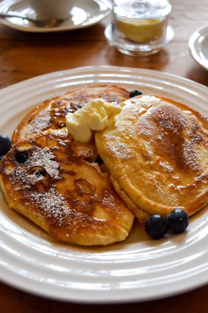 Blueberry Pancakes at Trewornan Manor, Wadebridge