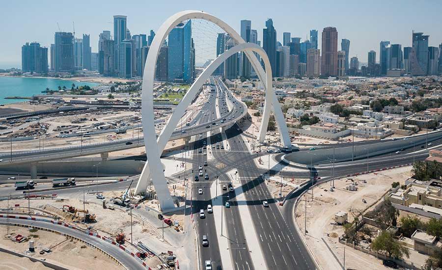Một dự án đường giao thông và hạ tầng mà Hyundai trúng thầu xây dựng tại Doha, Qatar.