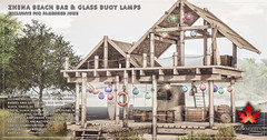 Trompe Loeil - Zhena Beach Bar & Glass Buoy Lamps for FaMESHed June