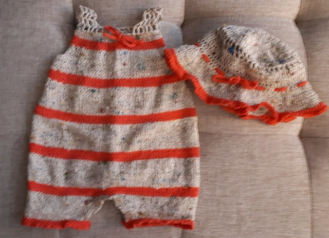 Celeste knit this sweet romper from Bergere de France Mag. 173! She had enough yarn left to knit a matching hat