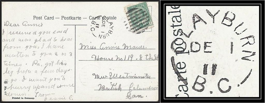 British Columbia / B.C. Postal History - 1 December 1911 - CLAYBURN, B.C. (split ring / broken circle cancel / postmark) to New Westminster, British Columbia