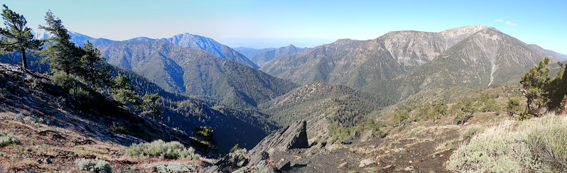 Panorama view southwest from the PCT at Blue Ridge, Mount Baldy (left) and Baden-Powell (right)
