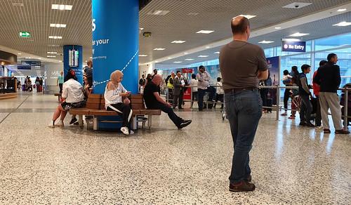 Circular bench at the airport