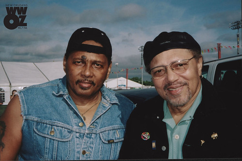 Aaron Neville and Art Neville at Jazz Fest. Photo by Ice Cube Slim, courtesy of the New Orleans Jazz & Heritage Archive.
