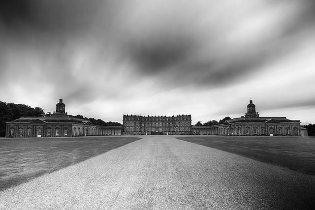 fine art black & white long exposure of the huge and elegant Hopetoun House  near Queensferry, West Lothian, Scotland