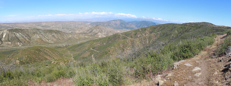 Panorama view northeast from the PCT on Upper Lytle Creek Ridge