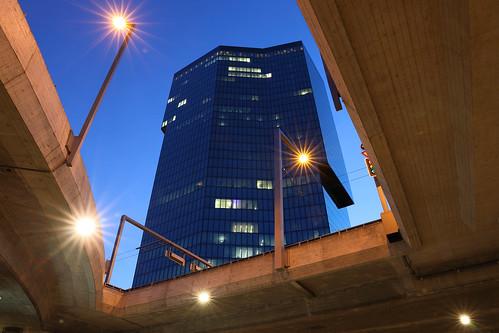zurich zürich switzerland city architecture primetower tower highrise lights night sunset dusk hardbrücke bridge