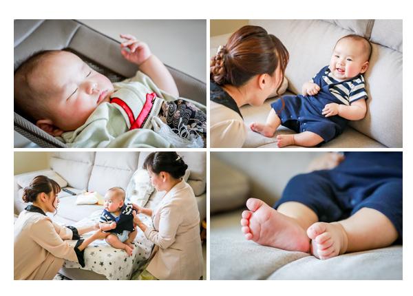 初宮参りの日 3か月の男の子赤ちゃん おうちでお着替え