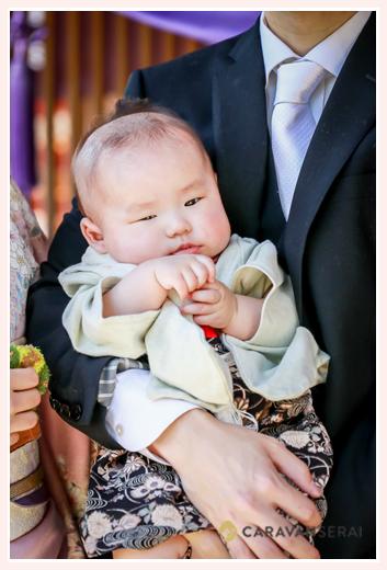 初宮参り 100日(3か月)の赤ちゃん 男の子 袴ロンパース