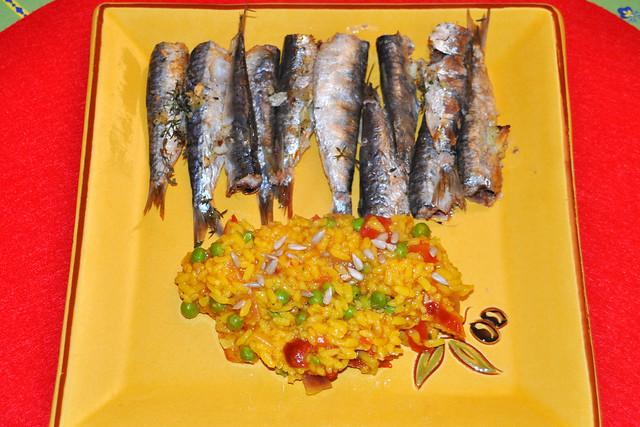 gegrillten Knoblauch-Sardinen mit buntem Reis aus der Camargue ... Fotos: Brigitte Stolle, Juni 2019