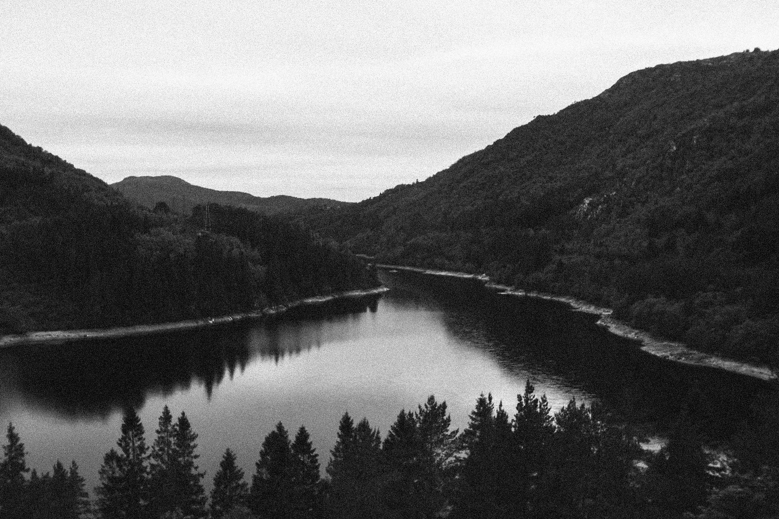 Valley in black and white with reservoir, trees and hills.