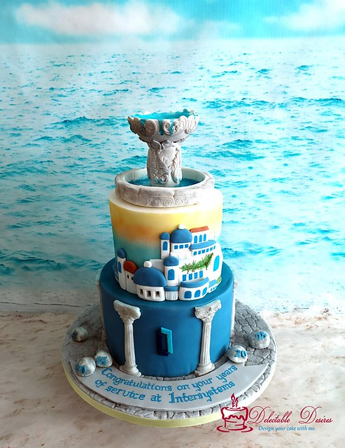 Greece Theme Cake by Delectable Desires