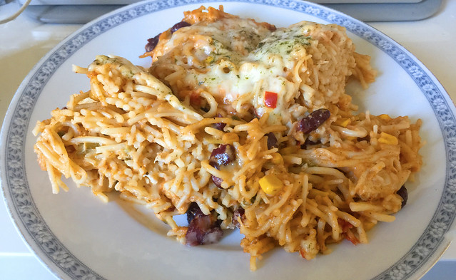 Creamy spicy chicken spaghetti / Cremig-pikante Hähnchen-Spaghetti - Reheated