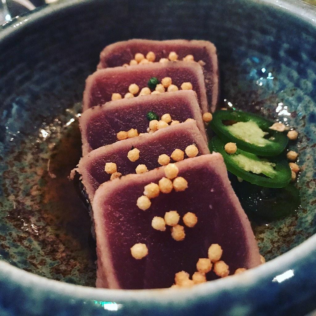 A plate of seared tuna